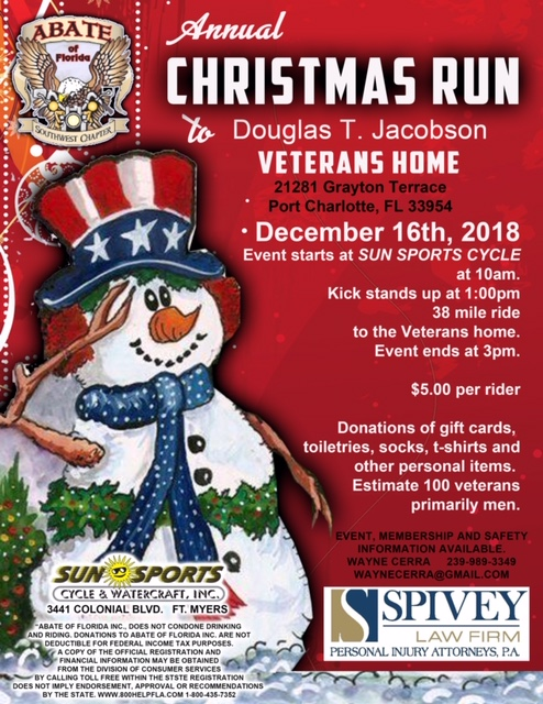 Spivey Law Firm Supports ABATE 2018 Annual Veterans' Ride