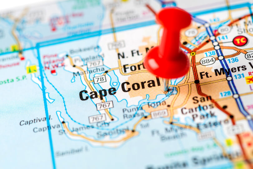 Map view of Cape Coral, Florida