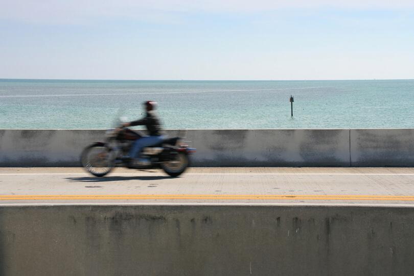 Motorcycle rider along the Florida coast