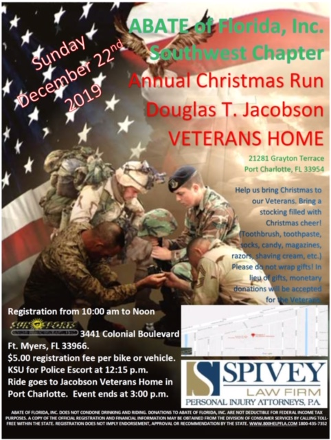 Spivey Law Firm Sponsors SW Florida ABATE 2019 Veterans Christmas Ride
