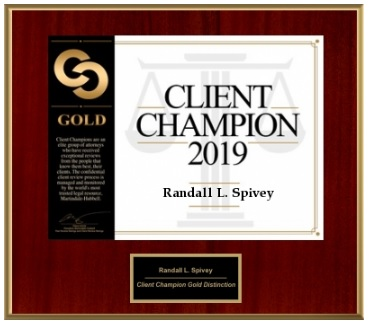 Randall L. Spivey Received Martindale-Hubbell 2019 Client Champion Gold Award