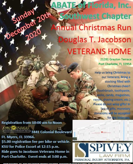 Spivey Law Main Sponsor of SWFL ABATE 2020 Veterans Christmas Ride