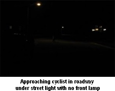 Cyclist with no lights